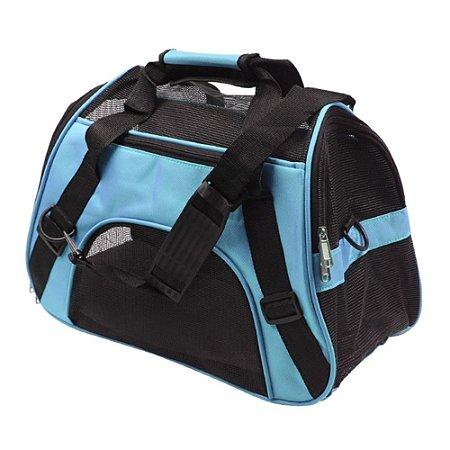 Bolsa Transporte Flexível Cães e Gatos Pet Avião Cor Azul Tamanho M