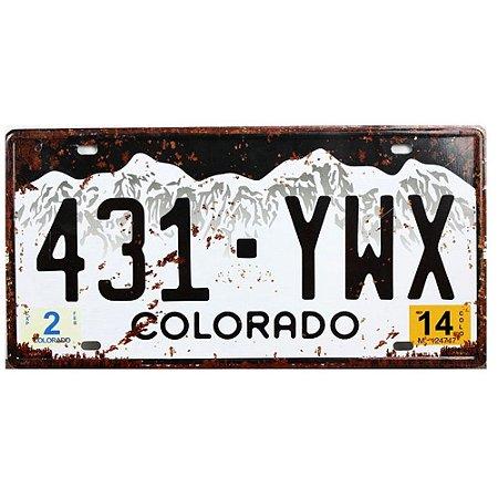 Placa de carro antiga decorativa metálica vintage Colorado