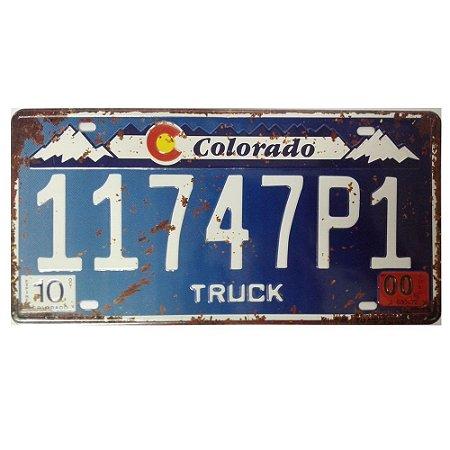 Placa de carro antiga decorativa metálica vintage Colorado Truck