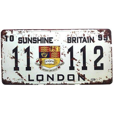 Placa de carro antiga decorativa metálica vintage Londres