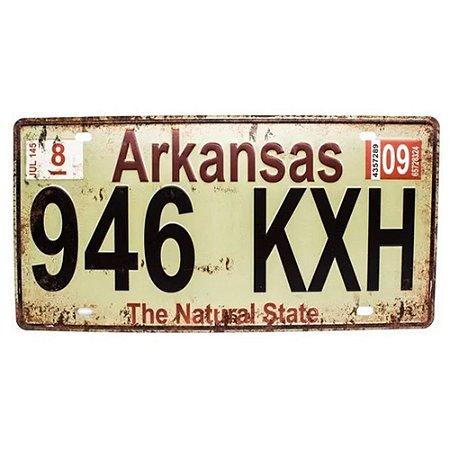 Placa de carro antiga decorativa metálica vintage Arkansas