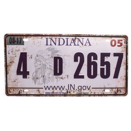 Placa de carro antiga decorativa metálica vintage Indiana