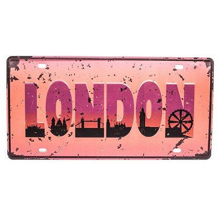 Placa de carro antiga decorativa metálica vintage London