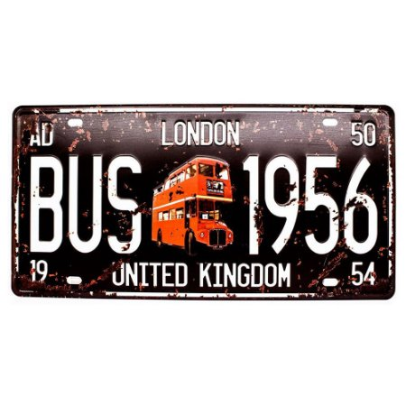 Placa de carro antiga decorativa metálica vintage London Bus
