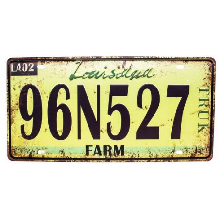 Placa de carro antiga decorativa metálica vintage Luisiana