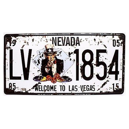 Placa de carro antiga decorativa metálica vintage Nevada Las Vegas