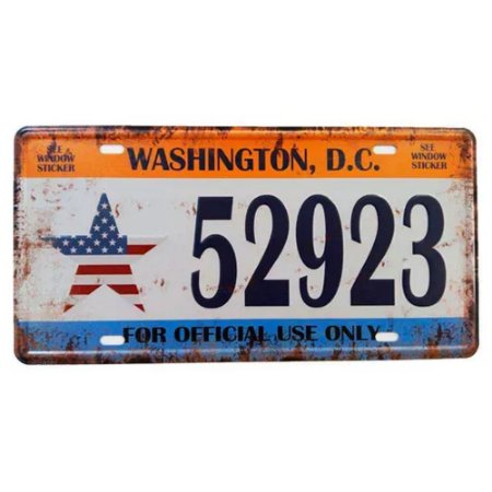 Placa de carro antiga decorativa metálica vintage Washington