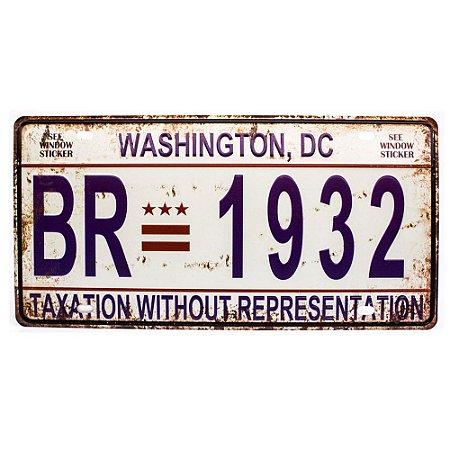 Placa de carro antiga decorativa metálica vintage Washington DC