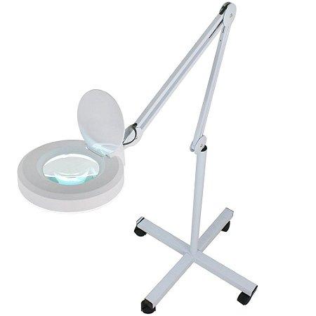 Lupa Luminária 120 Leds SMD Tripé Altura Regulável 4 Rodas Estética