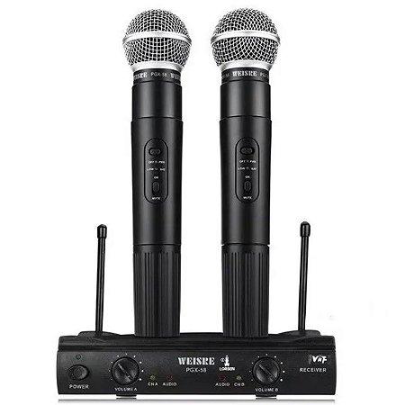 Microfone Duplo Sem Fio Dinâmico Alcance Até 30m Weisre PGX-58 Antena Dupla + Cabo + 2 Baterias + Fonte Bivolt