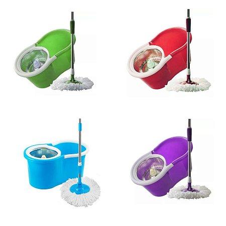 Esfregão Spin Mop centrifuga Inox 360 Balde limpeza flash