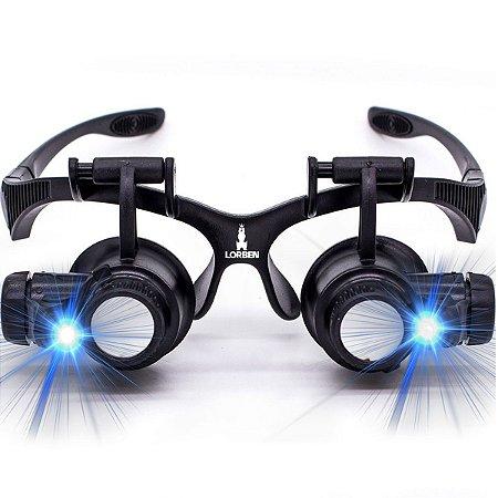 Lupa Óculos Cabeça 4 Lentes e Luz Led Aumento Até 25x