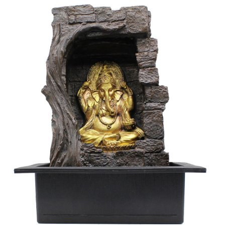 Fonte de Água Decorativa Resina Cascata Iluminação de Led Cortina D´Água Ganesha