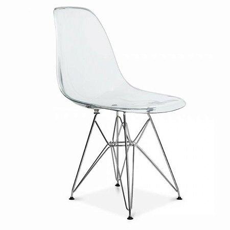 Cadeira Transparente Eames Eiffel Dsr Policarbonato Pés Cromados