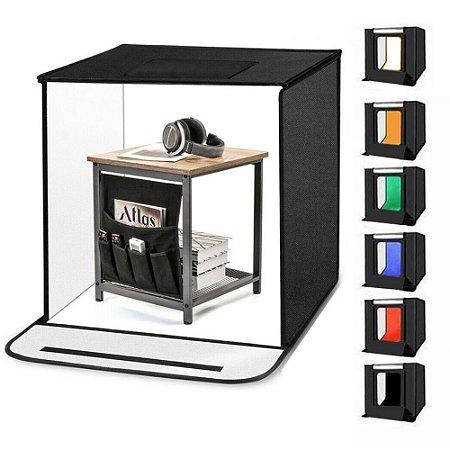 Mini Estúdio Fotográfico Tenda Portátil 6 Fundos Infinitos 60x60cm