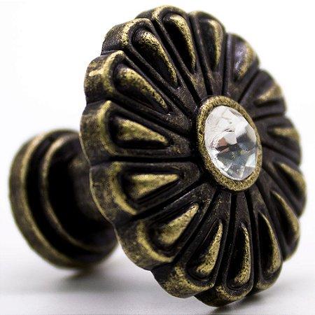 Puxador de Gaveta colonial modelo Flor com cristal linha italiana