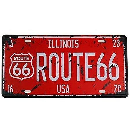 Placa de carro antiga decorativa metálica vintage Illinois Route 66