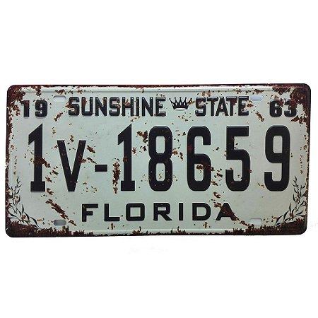 Placa de Carro Antiga Decorativa Metálica Vintage Florida