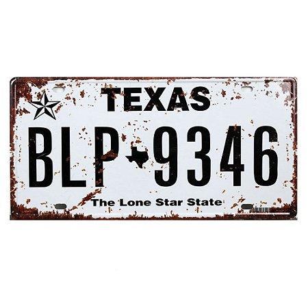 Placa de carro antiga decorativa metálica vintage Texas