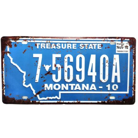 Placa de Carro Antiga Decorativa Metálica Vintage Montana