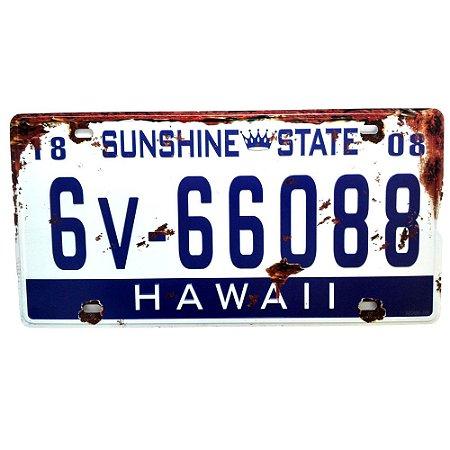 Placa de carro antiga decorativa metálica vintage Hawaii