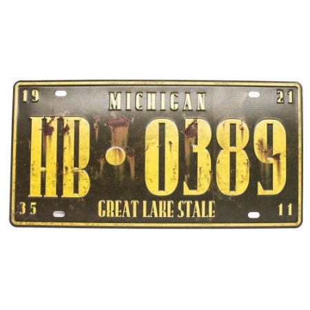 Placa de carro antiga decorativa metálica vintage Michigan