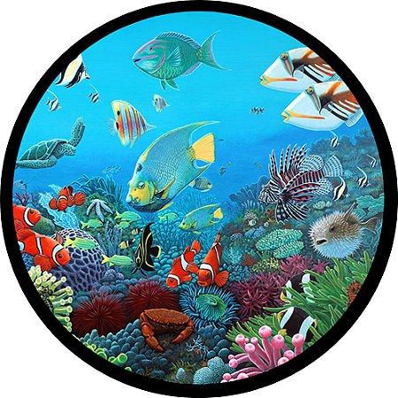 Capa para estepe Ecosport Crossfox + Cabo + Cadeado Fundo do Mar