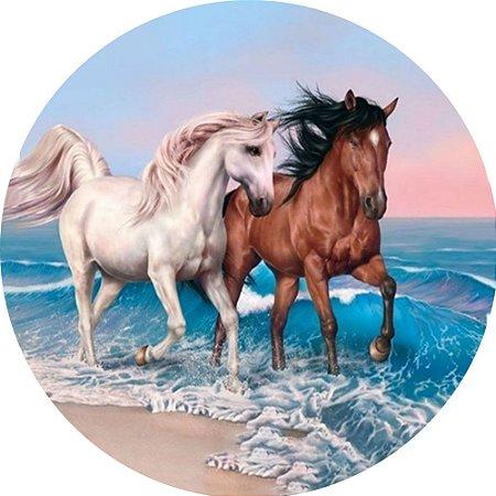 Capa Personalizada para Estepe Ecosport Crossfox Estampa Cavalos na Praia