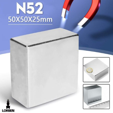 Imã de Neodímio N52 Bloco 5x5x2,5cm Trava Super Forte