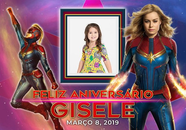 Painel de Festa Infantil Personalizável em Tecido Capitã Marvel