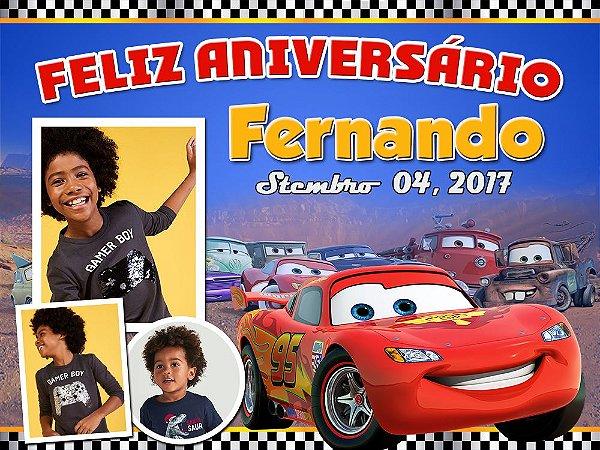 Painel de Festa Infantil Personalizável em Tecido Carros Pixar