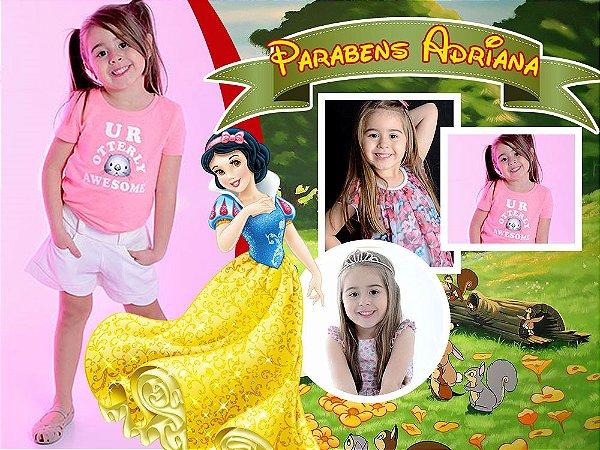 Painel de Festa Infantil Personalizável em Tecido Princesas Disney Branca de Neve