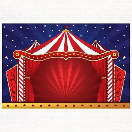 Painel de Festa Infantil Personalizado em Tecido Tema Circo