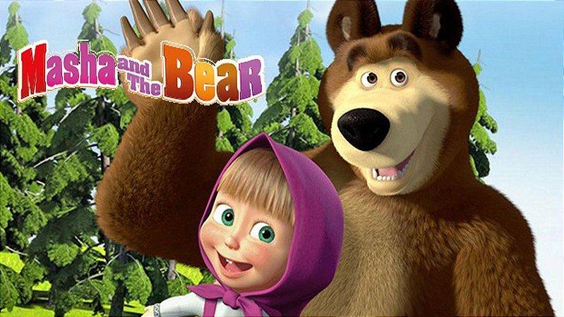 Painel de Festa Infantil Personalizado em Tecido Tema Masha e o Urso 2