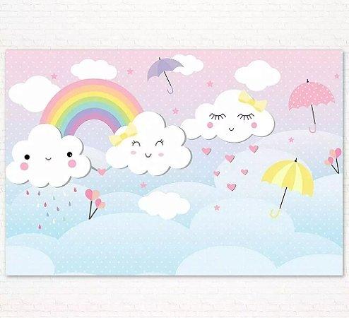 Painel de Festa Infantil Personalizado em Tecido Tema Chuva de Amor