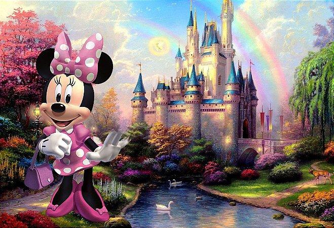 Painel de Festa Infantil Personalizado em Tecido Tema Minnie 2