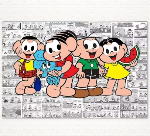 Painel de Festa Infantil Personalizado em Tecido Tema Turma da Mônica