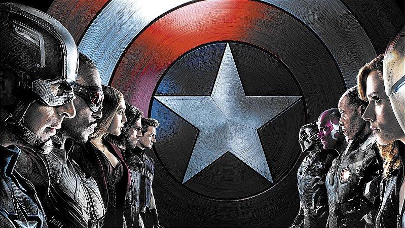 Painel de Festa Infantil Personalizado em Tecido Tema Vingadores Marvel 2