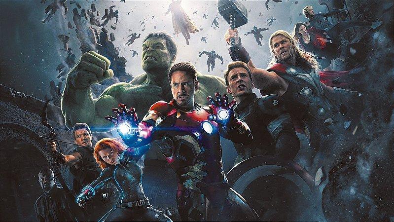 Painel de Festa Infantil Personalizado em Tecido Tema Vingadores Marvel 3