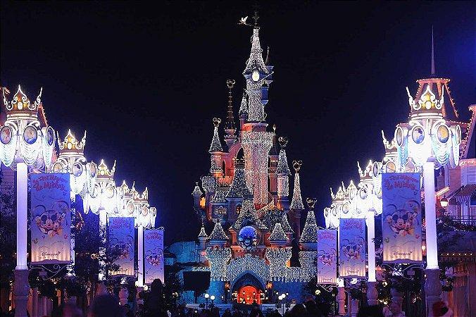Painel de Festa Infantil Personalizado em Tecido 138x92cm Castelo Disney 2