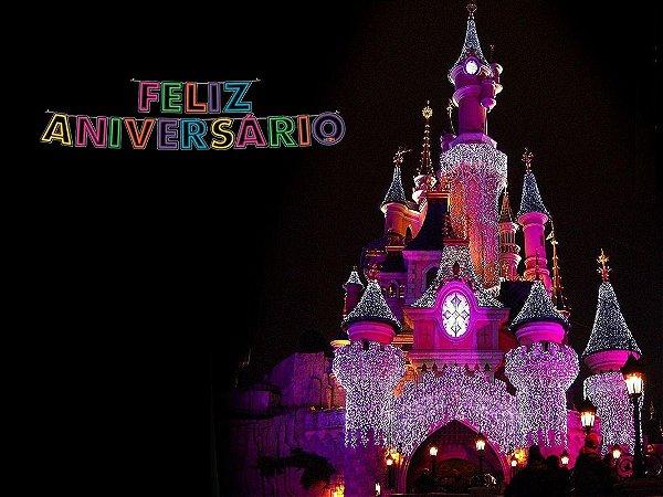 Painel de Festa Infantil Personalizado em Tecido 138x103cm Castelo Disney 3