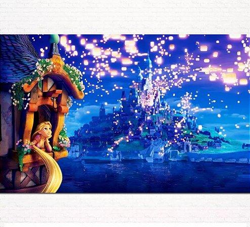 Painel de Festa Infantil Personalizado em Tecido Tema Princesas Disney Rapunzel