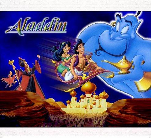 Painel de Festa Infantil Personalizado em Tecido Tema Aladdin 6
