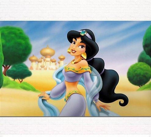 Painel de Festa Infantil Personalizado em Tecido Princesas Disney Jasmine Aladdin 4