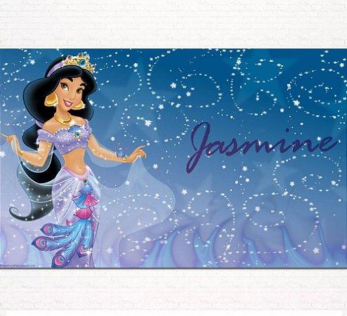 Painel de Festa Infantil Personalizado em Tecido Princesas Disney Jasmine Aladdin 5