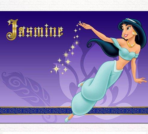 Painel de Festa Infantil Personalizado em Tecido Princesas Disney Jasmine Aladdin 6