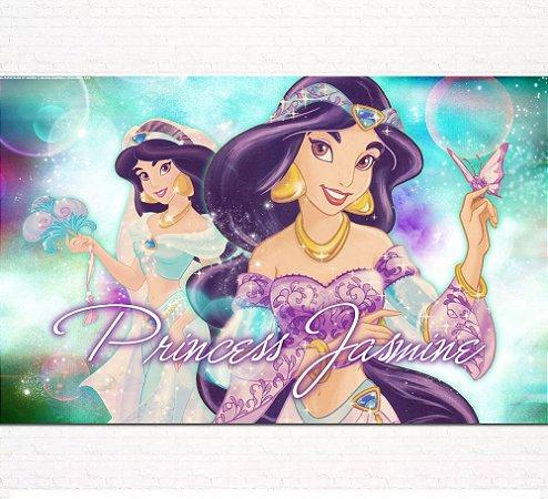 Painel de Festa Infantil Personalizado em Tecido Princesas Disney Jasmine Aladdin 7