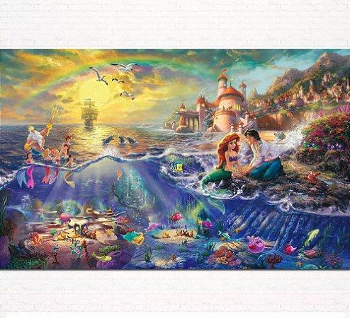 Painel de Festa Infantil Personalizado em Tecido Pequena Sereia Ariel 1