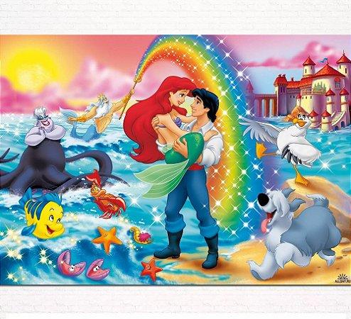 Painel de Festa Infantil Personalizado em Tecido Pequena Sereia Ariel 2