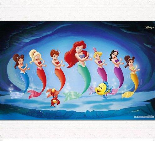 Painel de Festa Infantil Personalizado em Tecido Pequena Sereia Ariel 4